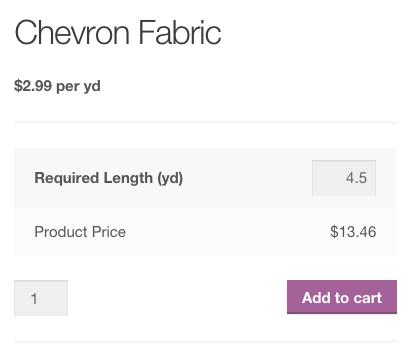 WooCommerce测量价格计算器每码价格