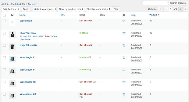 产品列表屏幕显示用于显示等候名单计数的附加列