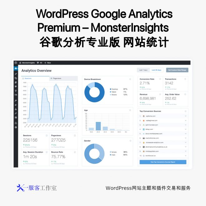 WordPress Google Analytics Premium - MonsterInsights 谷歌分析专业版 网站统计