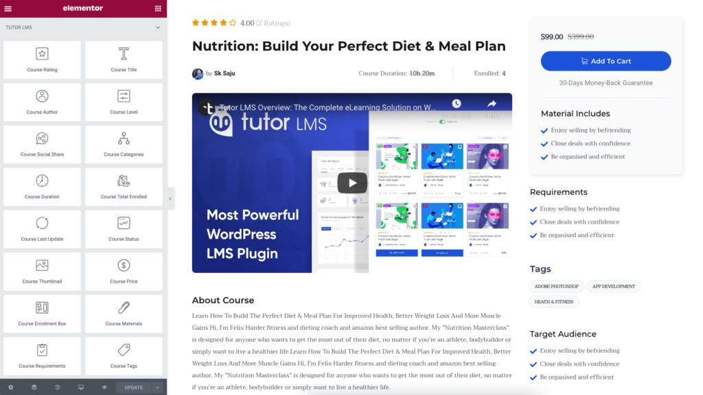 Tutor LMS Elementor Addons集成插件简介:创建自定义课程页面、课程轮播、课程列表等